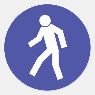 Pedestrian Route Classic Round Sticker