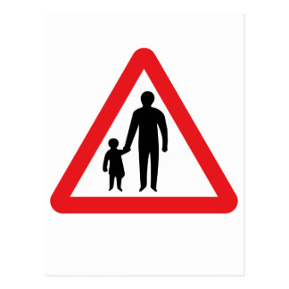 Pedestrians In Road Ahead, UK Traffic Sign Postcard