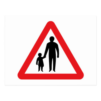 Pedestrians In Road Ahead, UK Traffic Sign Post Cards
