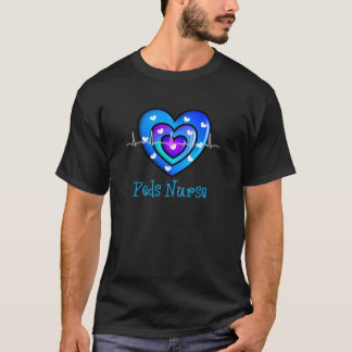Pediatric Nurse Artsy Blue Heart Design Gifts T-Shirt