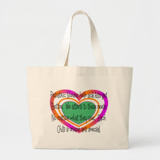 pediatric nurse poem heart large tote bag
