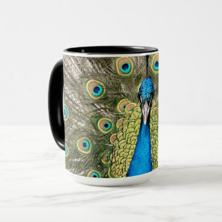 Pedro Peacock Feathers Colorful Wild Bird Peafowl Mug