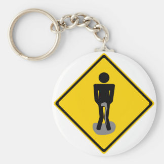 Pee Pants Road Sign Keychain