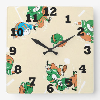 Pee Wee Football Square Wall Clock
