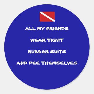 Peeing Diver Round Sticker #1