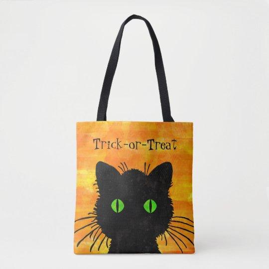 Peek-A-Boo Black Cat Orange Trick-or-Treat Bag