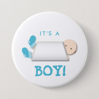 Peek-a-Boo Blue Baby Booties Cartoon 3 Inch Round Button