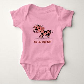 Peek-a-boo Cartoon Moo Cow, sounds of farm animals Baby Bodysuit