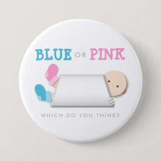 Peek-a-Boo Gender Reveal Baby Booties Cartoon 3 Inch Round Button