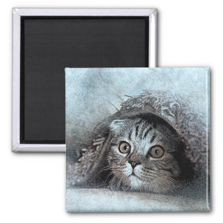 Peek A Boo Kitty Portrait | Abstract | Watercolor Magnet