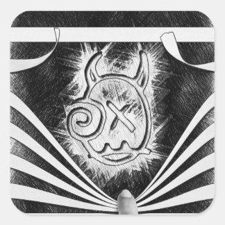 Peek-a-boo logo sticker