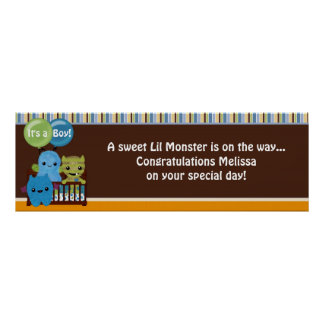 Peek a Boo MONSTERS Baby Shower Banner PABC Print