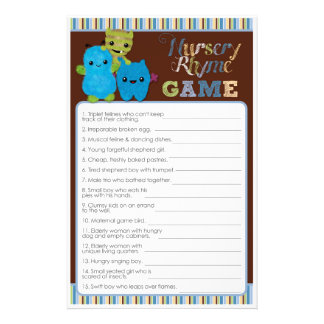 Peek a Boo Monsters Baby Shower Game Nursery Rhyme Flyer