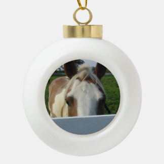 Peek a Boo Palomino Horse Behind Fence Ceramic Ball Christmas Ornament
