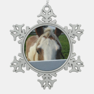 Peek a Boo Palomino Horse Behind Fence Snowflake Pewter Christmas Ornament