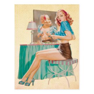 Peek A Boo Pin up Girl Postcard