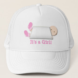 Peek-a-Boo Pink Baby Booties Gender Reveal Trucker Hat