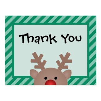 Peek A Boo Reindeer Holiday Thank You Postcard