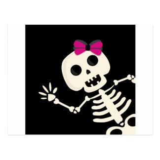 peek a boo skeleton postcard