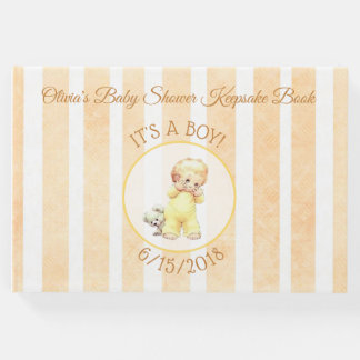 Peek a Boo Vintage Baby Boy Yellow Baby Shower Guest Book