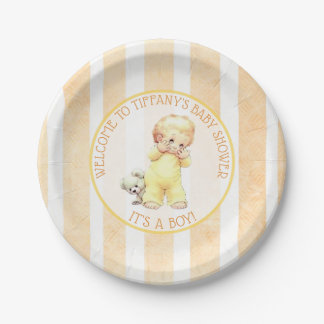 Peek a Boo Vintage Baby Boy Yellow Baby Shower Paper Plate