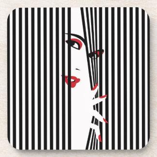 Peek Woman (White) Coaster