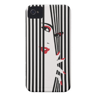 Peek Woman (White) iPhone 4 Case-Mate Cases