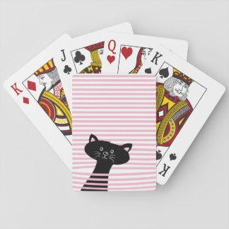 Peekaboo! Cute Black Cat - Playing Card