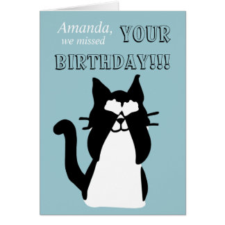 Peekaboo Kitty Cat Covering Eyes Belated Birthday Card