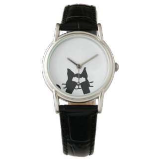 Peekaboo Kitty Cat Covering Eyes Wristwatches