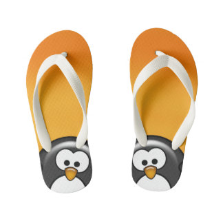 Peekaboo Penguin Orange Kid's Flip Flops