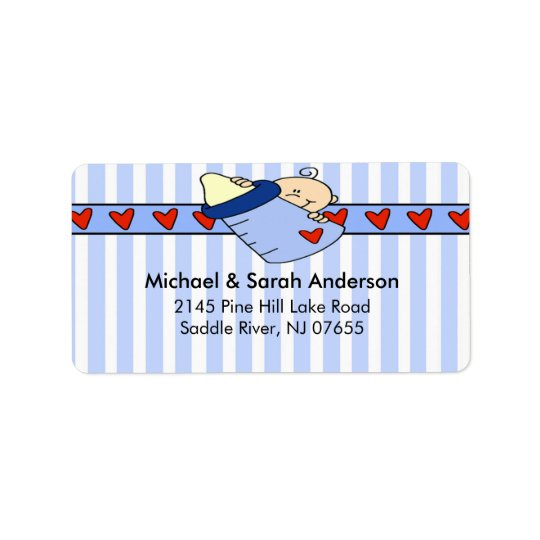 Peeking Baby Boy Bottle Address Label