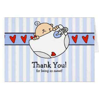 Peeking Baby Boy & Diaper Thank You Note Card