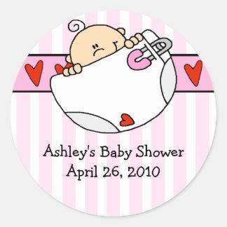 Peeking Baby & Diaper Baby Shower Sticker