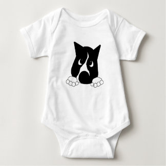 peeking basenji black and white baby bodysuit