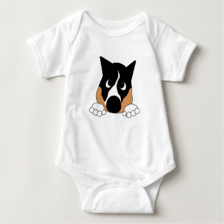 peeking basenji black tan and white baby bodysuit