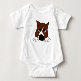 peeking basenji red and white baby bodysuit