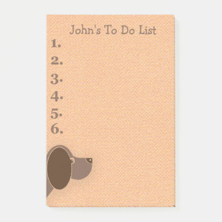 Peeking Brown Dog Personalized To Do List Post-it Notes