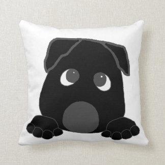 peeking cane corso black throw pillow