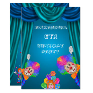 Peeking Clowns Boy's 6th Birthday Double Sided Card