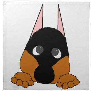 peeking dobie black and rust napkin