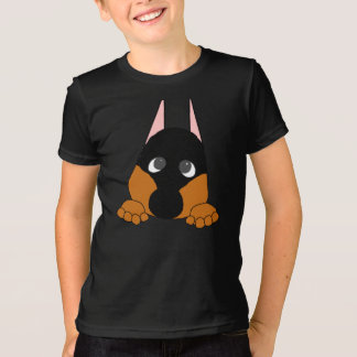 peeking dobie black and rust T-Shirt