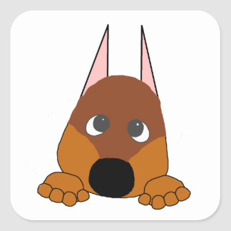 peeking dobie red and rust square sticker