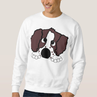 peeking ess liver and white sweatshirt