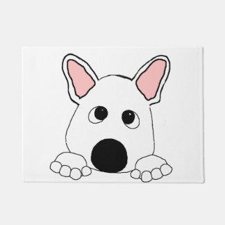 peeking french bulldog  white doormat