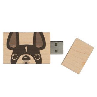 Peeking French USB Maple Flash Drive - Black/White Wood USB 2.0 Flash Drive