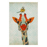 Peeking Giraffe & Little Bird Art Poster