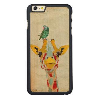 PEEKING GIRAFFE & PARROT Carved iPhone Case
