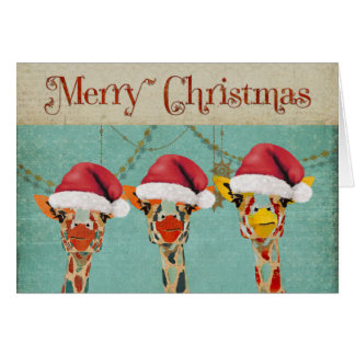Peeking Giraffes Christmas Card