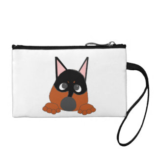 peeking min pin black and rust coin purse